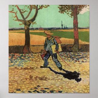 Van Gogh - autoportrait sur la route à Tarascon Posters