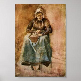 Van Gogh - café de meulage de femme Posters