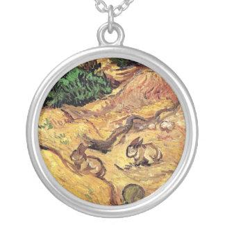 Van Gogh - champ avec deux lapins Pendentif Rond