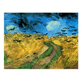 Van Gogh - champ de blé sous le ciel de Threatning Cartes Postales