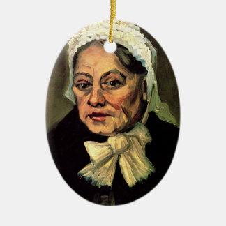 Van Gogh, chef de dame âgée, casquette blanc Ornement Ovale En Céramique