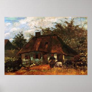 Van Gogh - cottage et femme avec la chèvre Posters