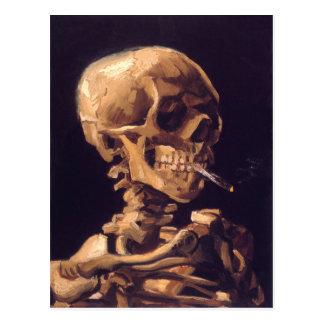 Van Gogh : Crâne avec brûler Cigaret Carte Postale