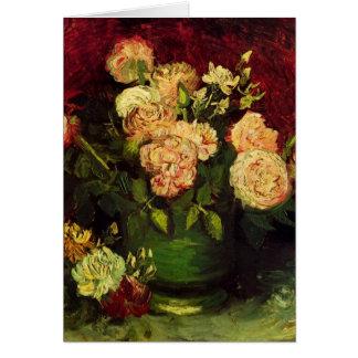 Van Gogh Cuvette avec des pivoines et des roses Carte De Vœux