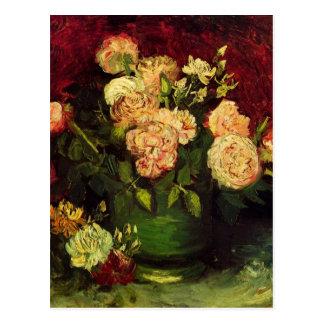 Van Gogh ; Cuvette avec des pivoines et des roses Carte Postale
