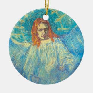 Van Gogh ; Demi de figure d'un ange, art vintage Ornement Rond En Céramique
