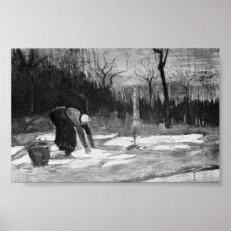 Van Gogh - femme étendant la blanchisserie sur un  Posters