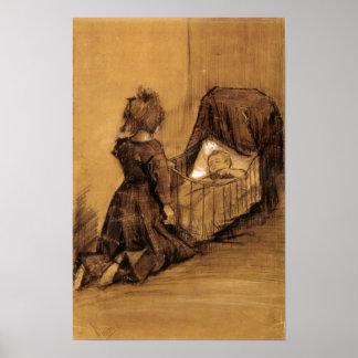 Van Gogh - fille se mettant à genoux par un bercea Posters