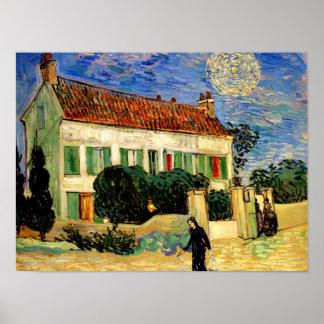 Van Gogh - la Maison Blanche par nuit Posters