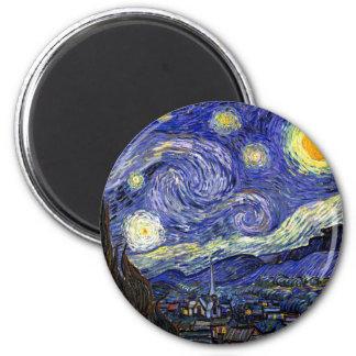 Van Gogh - la nuit étoilée Magnet Rond 8 Cm