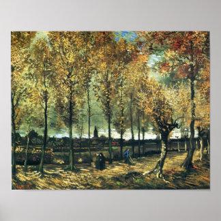 Van Gogh - la ruelle avec des peupliers s'approche Posters