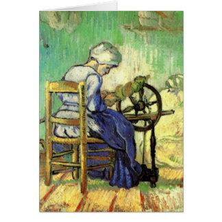 Van Gogh, le fileur, art vintage d'impressionisme Carte De Vœux