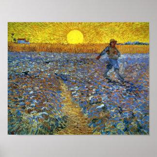 Van Gogh - le semeur (semeur avec le coucher de so Posters