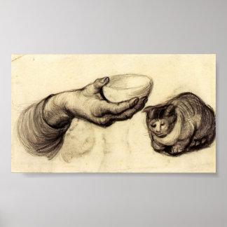 Van Gogh - main avec la cuvette et un chat Posters