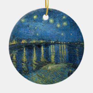 Van Gogh : Nuit étoilée au-dessus du Rhône Ornement Rond En Céramique
