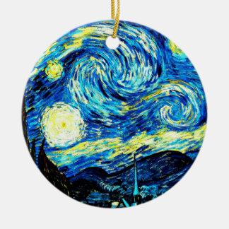 Van Gogh : Nuit étoilée Ornement Rond En Céramique