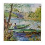 Van Gogh pêchant au printemps, beaux-arts vintages Carreau En Céramique