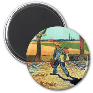 Van Gogh - peintre sur son chemin de travailler Magnet Rond 8 Cm