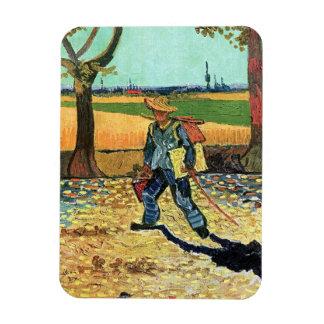 Van Gogh - peintre sur son chemin de travailler Magnets Rectangulaire