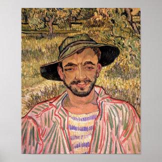 Van Gogh - portrait d'un jeune paysan Posters