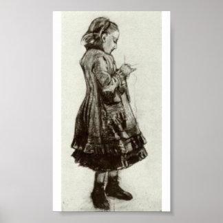 Van Gogh - position de fille, tricot Posters