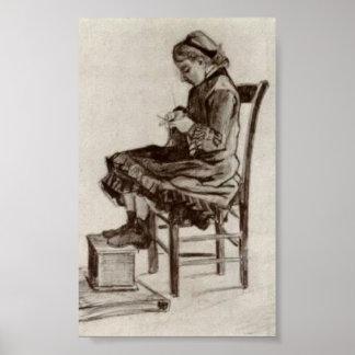 Van Gogh - séance de fille, tricot Posters