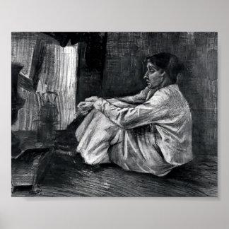 Van Gogh - Sien avec le cigare se reposant sur le  Posters