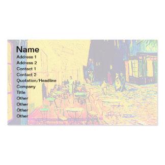 Van Gogh - terrasse de café à l'art de bruit de Carte De Visite Standard