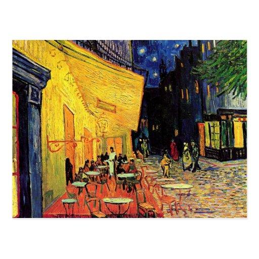 Van Gogh, terrasse de café la nuit, beaux-arts Cartes Postales