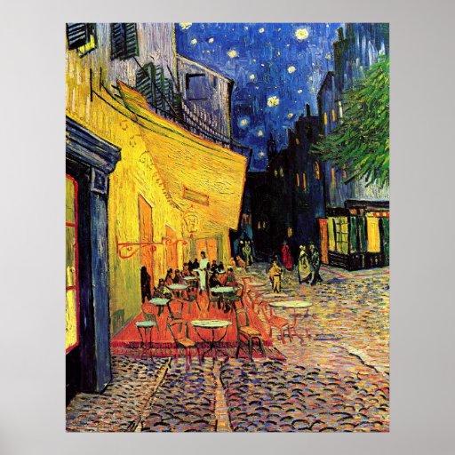 Van Gogh, terrasse de café la nuit, beaux-arts Affiches