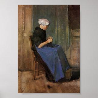 Van Gogh - tricot de jeune femme Posters