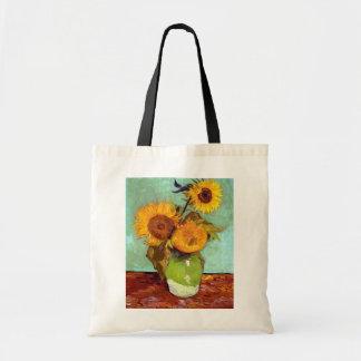 Van Gogh - trois tournesols dans un vase - Sacs De Toile