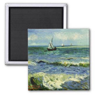 Van Gogh - un bateau de pêche en mer Magnet Carré