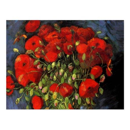 Van Gogh ; Vase avec les pavots rouges, fleurs vin Cartes Postales