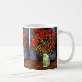 Van Gogh Vase avec les pavots rouges fleurs vin Mugs À Café