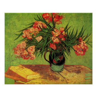 Van Gogh Vase toujours à la vie avec des oléandr Posters