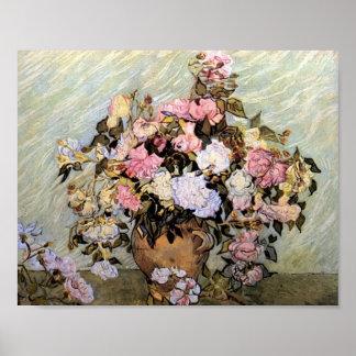 Van Gogh - vase toujours à la vie avec des roses Posters