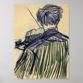Van Gogh - violoniste vu du dos Posters