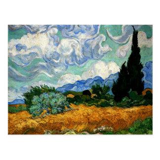 Van Gogh - Wheatfield avec l'arbre de Cypress Carte Postale