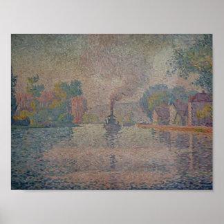 Vapeur de Paul Signac- L Hirondelle sur la Seine Affiche