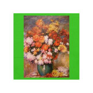 Vase 3 de fleur de chrysanthèmes (reproduction) impression sur bois