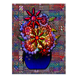 Vase à bleu de cobalt avec des fleurs cartes postales