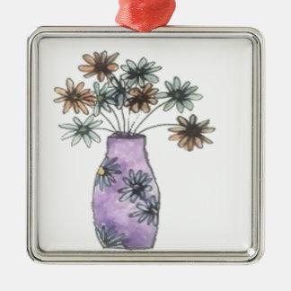 Vase à fleur ornement carré argenté