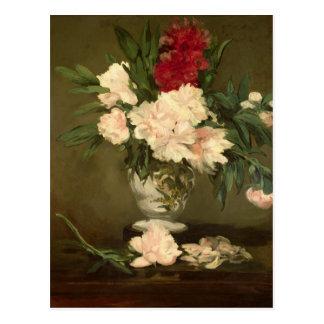 Vase à Manet | de pivoines sur un petit piédestal, Carte Postale