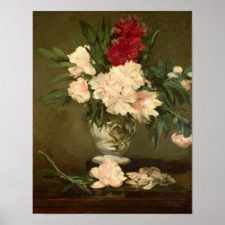 Vase à Manet | de pivoines sur un petit piédestal, Poster