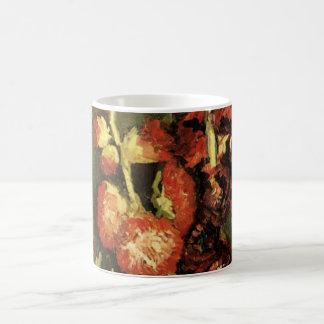 Vase à Van Gogh avec des roses trémière, Mug