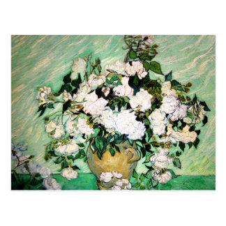 Vase à Van Gogh avec la carte postale rose de