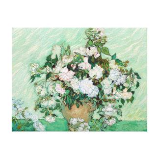 Vase à Vincent van Gogh avec les roses roses Toiles