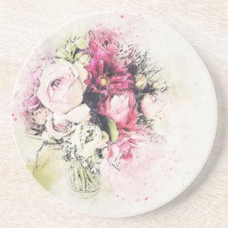 Vase abstrait de fleurs pour épouser dessous de verres
