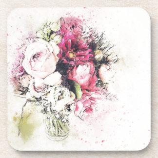 Vase abstrait de fleurs pour épouser sous-bocks